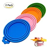 CooleedTEK Food-Grade Silicone Pet Food Storage Can Lid Cover for Dog Cat Food,One Fits Three Standard Sizes Can Tops,Pack of 4 …
