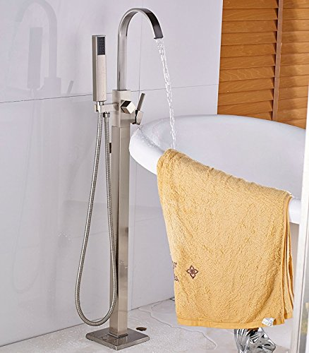 le Brushed Floor Mount Tub Filler Free Standing Bathroom Tub Faucet & Handheld Shower (Freestanding Tub Faucets)
