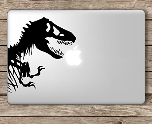 Park Computer (Jurassic Park T-Rex Dinosaur Skeleton - Apple Macbook Laptop Vinyl Sticker Decal, Die cut vinyl decal for windows, cars, trucks, tool boxes, laptops, MacBook - virtually any hard, smooth surface)