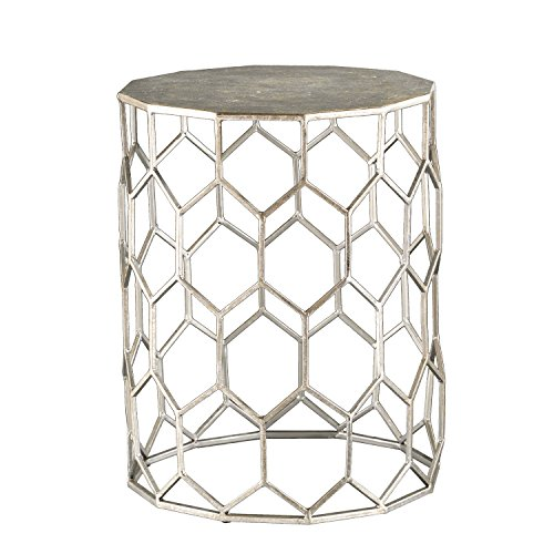 (Clarissa Honeycomb Accent Table - Antique Silver Frame - Geometric Design)