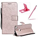 Strap Leather Case for Huawei P8 Lite 2017,Wallet Leather Case for Huawei P8 Lite 2017,Herzzer Premium Stylish Creative Rose Gold Art Painted Magnetic Bookstyle Flip Portable Stand Case with Soft Rubber Card Holder Slots