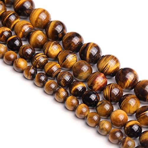 Natural Round AA Tiger Eye Agate Loose Stone Beads Bulk for Jewelry Making 4MM, 6MM, 8MM, 10MM,12MM (8mm)