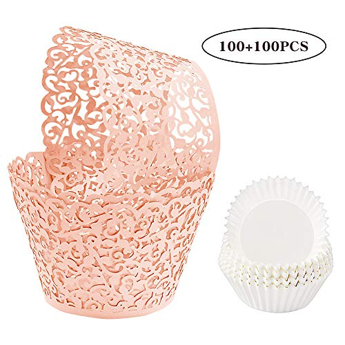 BAKHUK 200pcs Lace Cupcake Wrapper Liners, Laser Baking Cups Holders Muffin Case Trays for Baby Shower Wedding Birthday Party Decoration