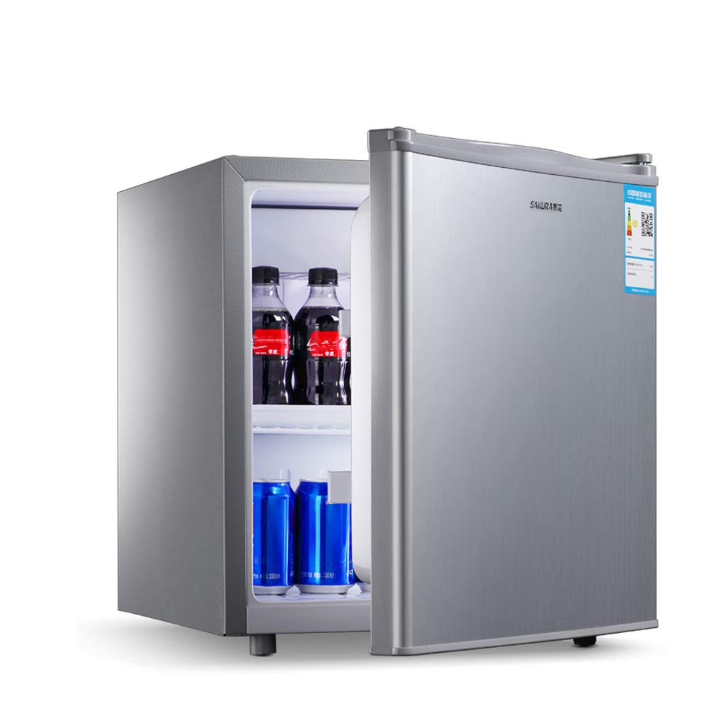 Lxn Silver Compact Single Door Refrigerator,Under Counter Fridge with Covered Chiller Compartment - Suitable for Office, Dorm or Apartment with Adjustable Removable Shelves - 50L Capacity