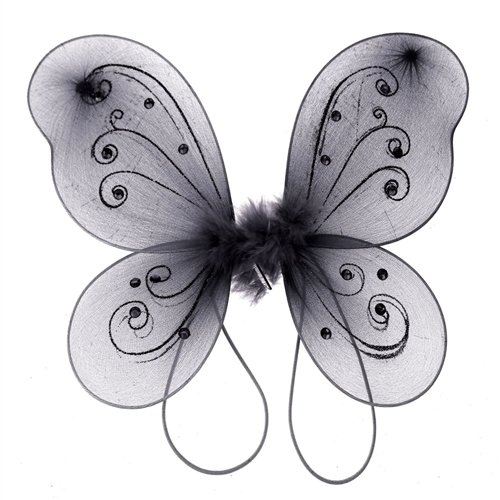Homeford FNS004285BLK Organza Nylon Butterfly Wings with Glitters, 12