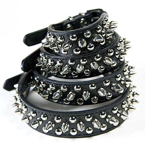 (CoreLife Spiked Dog Collar/Cat Collar, Studded Vegan Leather Pet Collar for Dogs and Cats S Black)