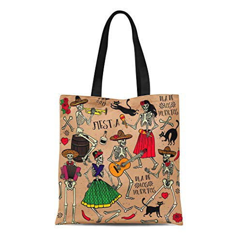 Semtomn Canvas Bag Resuable Tote Grocery Adorable Shopping Portablebags Red Dead with Skeletons Dia De Los Muertos the Dance Day Party Tattoo Music Natural 14 x 16 Inches Canvas Cloth Tote Bag ()