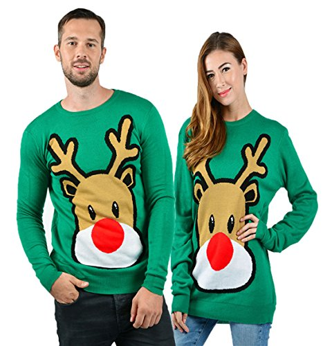 Funny Reindeer - uideazone Men Women Print Funny Christmas Reindeer Long Sleeve Pullover Knit Sweater, Green1, Small