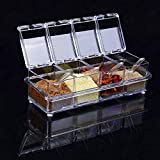 Clear Condiment Server, 4 Piece Acrylic Seasoning Rack Spice Pots, Serving Tray Container Cruet with Cover and Spoon
