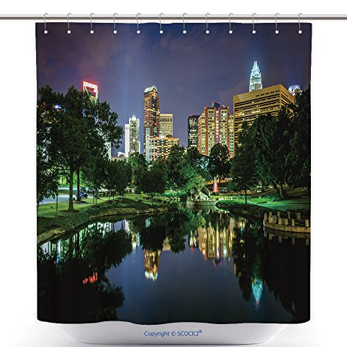 vanfan-Polyester Shower Curtains The Uptown Skyline A Lake at Marshall Park at Night, in Charlotte, North Carolina_ Polyester Bathroom Shower Curtain Set Hooks(36 x 72 inches) (Uptown Silverware)