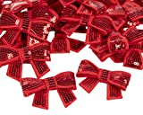 Mini Red Ribbon Bows - 36-Count Red Sequin Ribbon Bowknots for Gift Wrapping, DIY Embellishment, Kids Crafts, Party Decoration, 2 x 1.5 Inches
