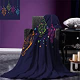 smallbeefly Lantern Digital Printing Blanket Candles in Night Sketch in Various Colors with Dots Arabian Motifs Summer Quilt Comforter Dark Purple Multicolor