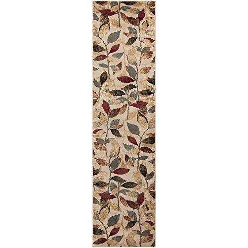 Cheap Parker Dark Red, Cream and Dark Brown Transitional Area Rug 3′ x 7'2″