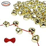 Outuxed 1 Inch Gold Jingle Bells (50 Pack) & 20-Meter Red Cord