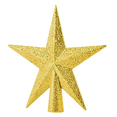 Adeeing Christmas Tree Topper Ornament 8-Inch Gold Glittered 5 Point Star Treetop Top of the Tree Gold