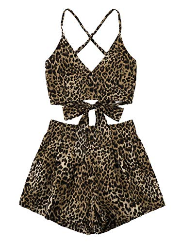 (MAKEMECHIC Women's 2 Piece Outfit Summer Striped V Neck Crop Cami Top with Shorts Leopard M )