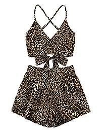 MAKEMECHIC - Conjunto de 2 Piezas para Mujer con Cuello en V a Rayas y Pantalones Cortos, Leopard, S