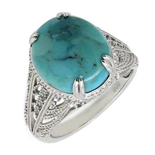 - Filigree Sterling Silver Oval Cabochon Natural Turquoise stone Statement Ring