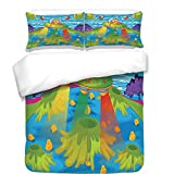 iPrint 3Pcs Duvet Cover Set,Outer Space Decor,for Kids Scary Monster in UFO on Planet Solar System Galaxy Funky Back,Green Blue,Best Bedding Gifts for Family/Friends