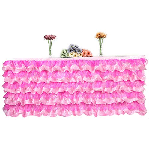 (Tulle Table Skirt For Wedding Birthday Party Decoration Tablecloth Baby Shower Wedding Supplies 27580Cm Rose 275x80cm)