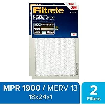 Filtrete 18x24x1, AC Furnace Air Filter, MPR 1900, Healthy Living Ultimate Allergen, 2-Pack