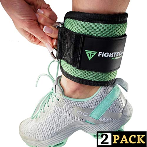 FIGHTECH Ankle Straps for Cable Machine Workouts with Durable Cuffs for Ab, Leg & Glute Exercises – Premium Fitness Equipment for Women & Men (Mint)