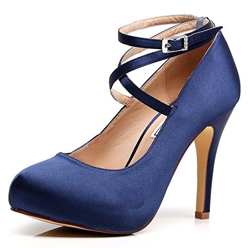 LUXVEER Dark Blue Satin Wedding Shoes Closed Toe Dress Shoes with Straps Hight Heels 4.5 inch -2069-Dark - Blue Platform Satin