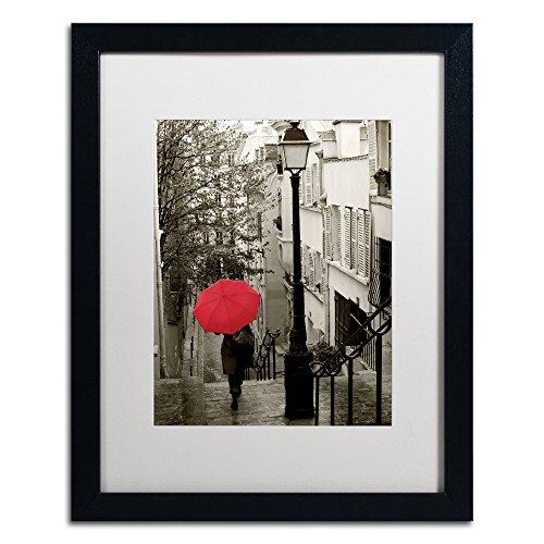 Paris Stroll II Artwork Sue Schlabach in White Matte and Black Frame, 16 by - Black Paris Photography White