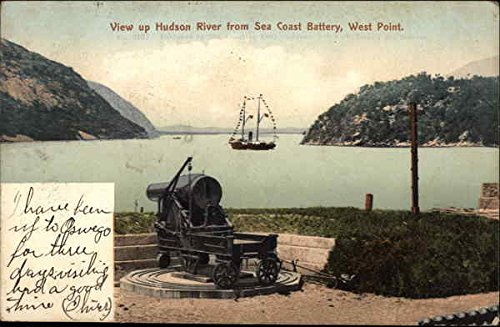 (View up Hudson River from Sea Coast Battery West Point, New York Original Vintage Postcard)