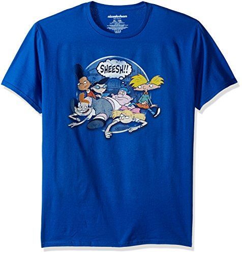 Blue Graphic Tee (Nickelodeon Men's Hey Arnold Short Sleeve Graphic T-Shirt, Royal, Small)