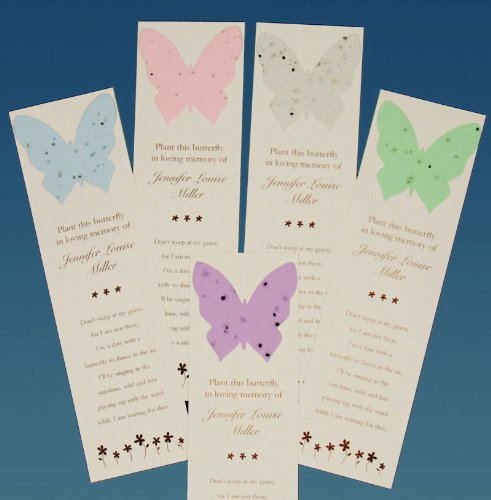 Personalized Butterfly Memorial Bookmarks with Seeds (Set of 25) Plantable Funeral Cards ()
