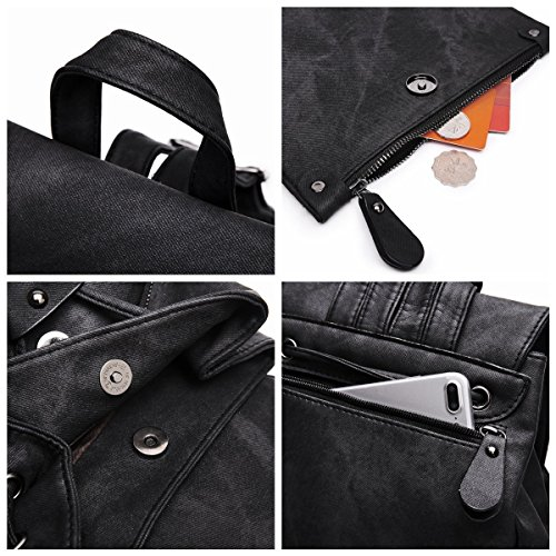 Mode Fanshu en Sac dos à Cartable Décontractée bandoulière à PU Noir femme cuir Noir sac Iwx0Rw4