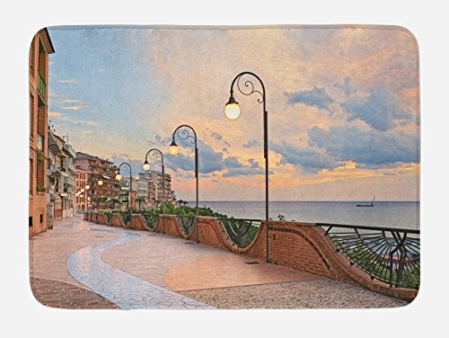 Ambesonne Italian Bath Mat, Dawn at Ortona Abruzzo Italy Terrace View on The Adriatic Sea Print, Plush Bathroom Decor Mat with Non Slip Backing, 29.5 W X 17.5 W Inches, Pale Caramel and White (View Terrace)