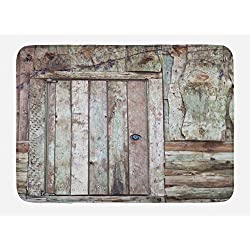 Ambesonne Rustic Bath Mat, Old Rustic Barn Door Cottage Country Cabin Theme Rural Mystic Entrance of Home, Plush Bathroom Decor Mat with Non Slip Backing, 29.5 W X 17.5 W Inches, Warm Taupe Cocoa
