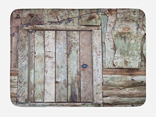Ambesonne Rustic Bath Mat, Old Rustic Barn Door Cottage Country Cabin Theme Rural Mystic Entrance of Home, Plush Bathroom Decor Mat with Non Slip Backing, 29.5 W X 17.5 L Inches, Warm Taupe Cocoa