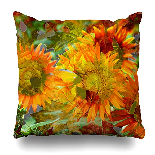 Pakaku Decorativepillows Case Throw Pillows Covers for Couch/Bed 20 x 20 inch,Fall Color Flowers Fall Leaves Flowers Orange Home Sofa Cushion Cover Pillowcase Gift Bed Car Living Home ()