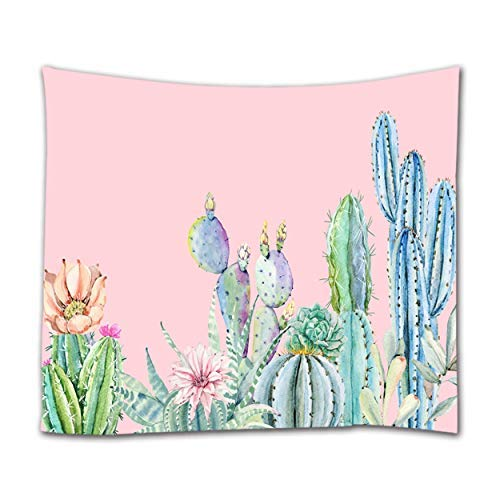 Ihome888 Cactus Tapestry, Nature Plant Cacti Succulent Flowers Wall Hanging Tapestries,80 Inch by 60 Inch, Pink Light Green