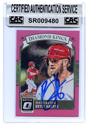 (Bryce Harper Washington Nationals Signed Autographed 2016 Donruss Diamond Kings Pink Border #30 Baseball Card CAS Certified)