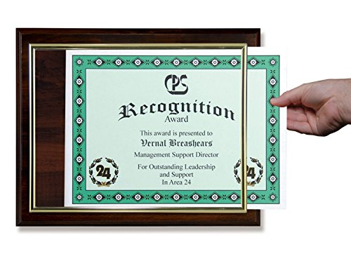 Certificate Plaque with Gold Slide-in Frame, Cherry Finish (Certificate Gold Frame)