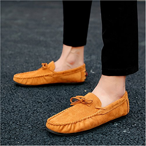 Leader Show Mens Daim Conduite Mocassins Casual Slip Sur Les Chaussures De Bateau Brun Clair