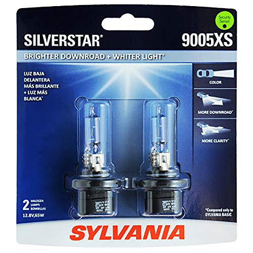 SYLVANIA - 9005XS SilverStar - High Performance Halogen Headlight Bulb, High Beam, Low Beam and Fog Replacement Bulb, Brighter Downroad with Whiter Light (Contains 2 Bulbs)