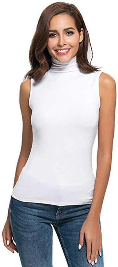 Camisa de Cuello Alto sin Mangas sólida sin Mangas para Mujer Blusa para Mujer Blusas y Camisas Femeninas: Amazon.es: Ropa y accesorios