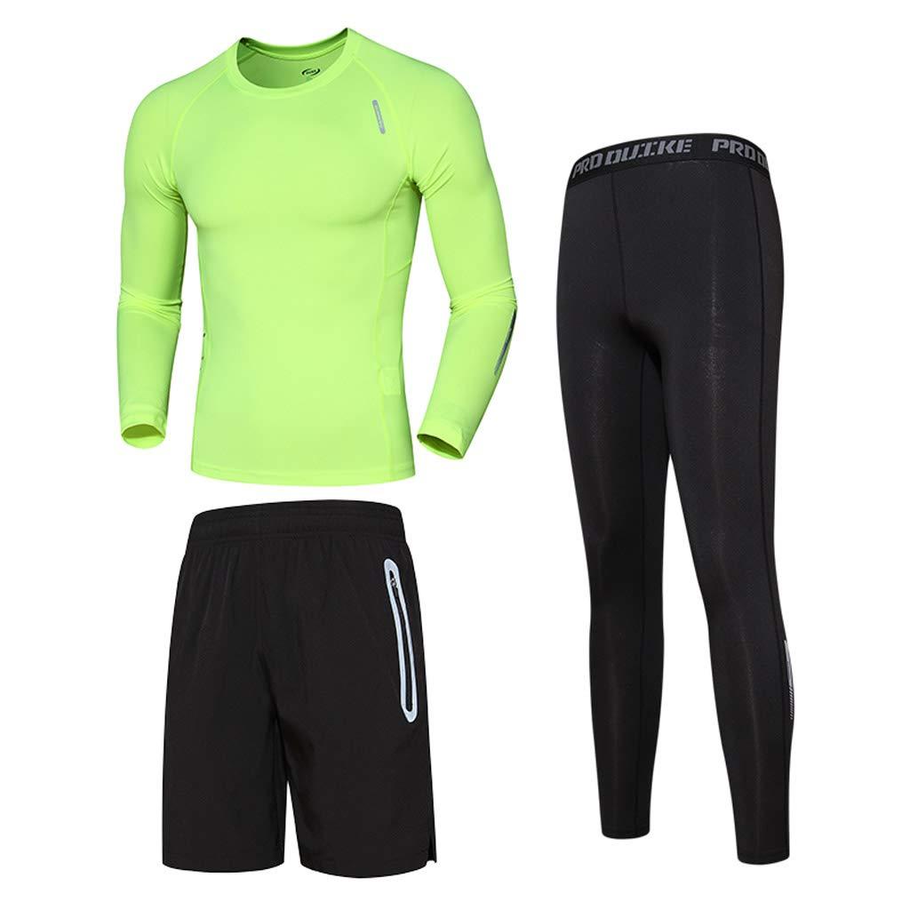 Kmgjc Herren Fitness Wear Lauf Langarm Breathable Tights - Dreiteiliges Set