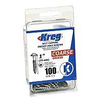 Kreg SML-C1-100 Tornillos de bolsillo - 1 pulgada, 8 grueso, cabeza de arandela, 100 u.