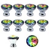 MyArmor 10pcs Colorful Gorgeous Crystal Glass Tiradores de cajón pomo mango 30mm para puerta armario, armario, cocina y baño gabinetes, persianas, etc