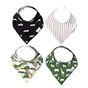 "Baby Bandana Drool Bibs for Drooling and Teething 4 Pack Gift Set For Boys ""Safari Set"" by Copper Pearl"