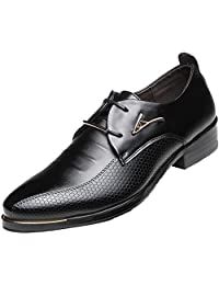 DADAWEN Men's Business British Pointed-Toe Oxford Shoes Four Seasons Dress Shoes
