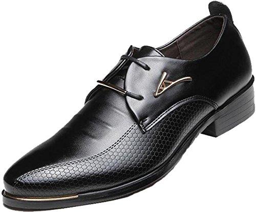 DADAWEN Men's Business British Pointed-Toe Oxford Shoes Four Seasons Dress Shoes -Black 9.5 US size