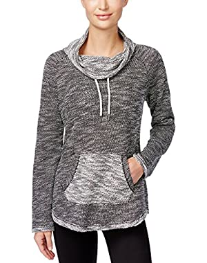 Calvin Klein Performance Women's Space-Dyed Textured Cowl-Neck Sweater