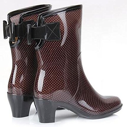 IDIFU Womens Sweet Printed Mid Chunky Heels Bows Mid Calf Rain Boots Wellies Coffee vLcaS4